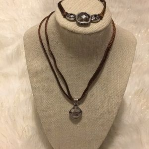 Brighton Crystal Silk Cord Necklace and Bracelet